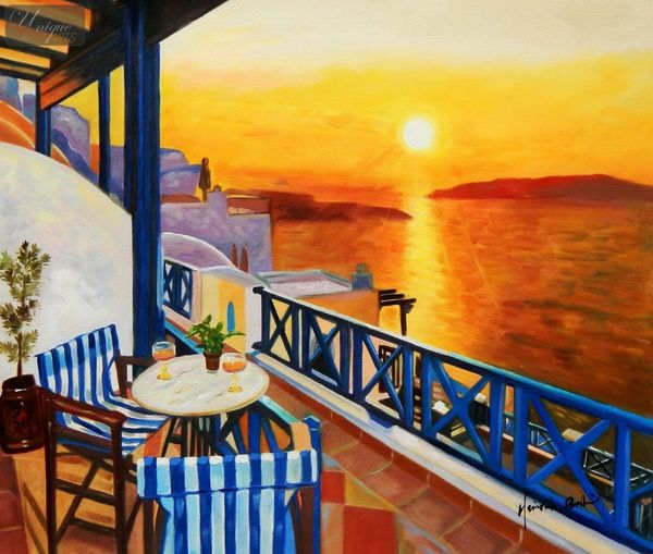 Modern Art - Sunset From A Terrace In Greece 50x60 cm Oil Painting – image 1