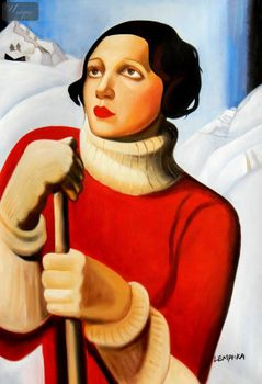 "Homage To T. Lempicka - Sain Moritz 24X36 "" Oil Painting – image 1"