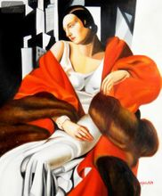 Homage To T. De Lempicka - Portrait Of Madame Boucard 50x60 cm Reproduction Oil Painting 001