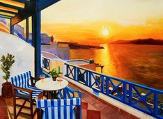 "Modern Art - Sunset From A Terrace In Greece 32X44 "" Oil Painting – image 2"
