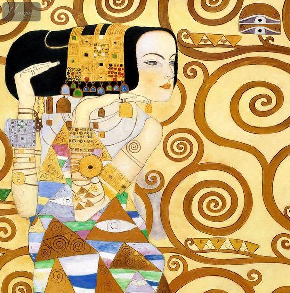 Gustav Klimt - The Waiting 80x80 cm Reproduction Oil Painting