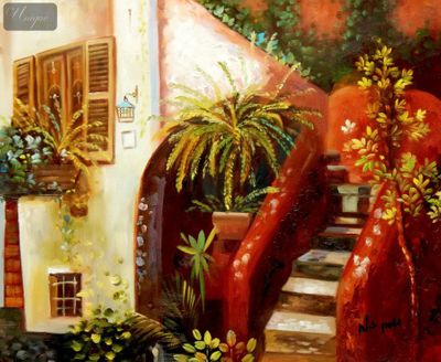 "Mediterranean Impressions - Piazza Terracotta 16X20 "" Oil Painting – image 1"