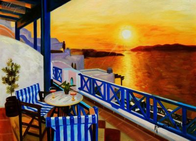 "Modern Art - Sunset From A Terrace In Greece 12X16 "" Oil Painting – image 1"