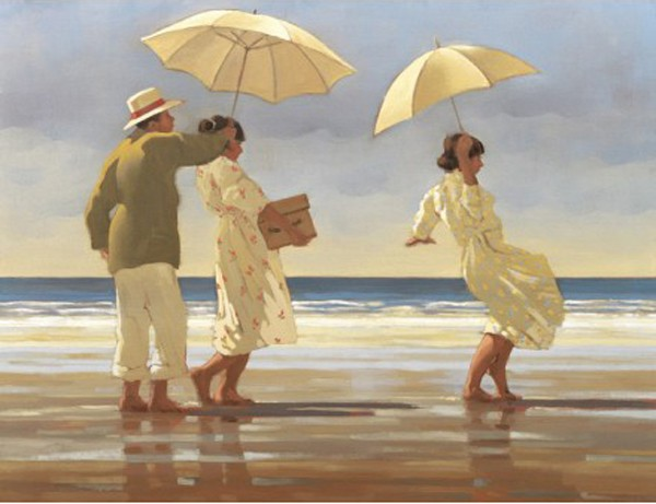 Jack Vettriano - The Picnic Party - Kunstdruck Limitierte Edition  - Hand Signiert 49,5x41cm