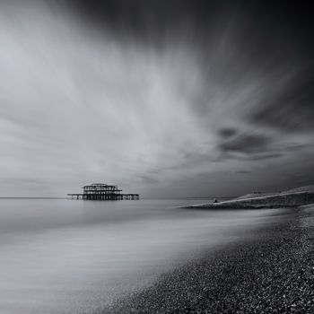 West Pier - Fine Art Photography by David Freeman B/W