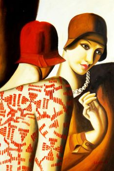 "Homage To Tamara De Lempicka - The Girlfriends 24X36 "" Oil Painting"