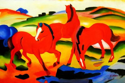 "Franz Marc - Grazing Horses 24X36 "" Oil Painting"