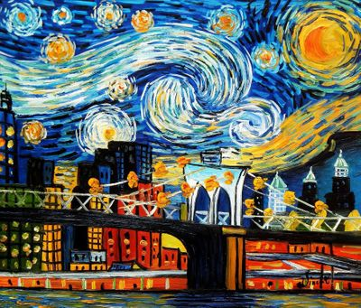 "Homage To Van Gogh New York Starry Night 20X24 "" Oil Painting"