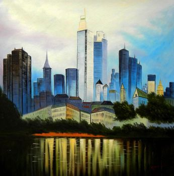 "Modern Art Frankfurt Skyline 48X48 "" Oil Painting"