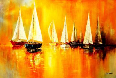 Sailing Boats On A Lake 120x180 cm Oil Painting