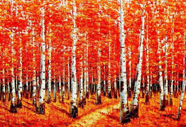 Modern Art - Birch Grove In Autumn 60x90 cm Oil Painting