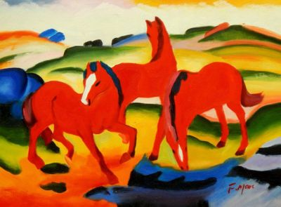"Franz Marc - Grazing Horses 12X16 "" Oil Painting"