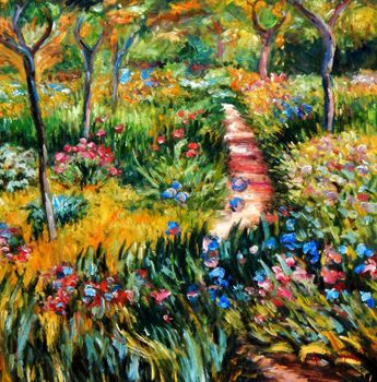 "Claude Monet - Monet'S Garden At Giverny 32X32 "" Oil Painting"