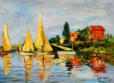 "Claude Monet - Regatta At Argenteuil 32X44 "" Oil Painting"