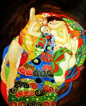 "Gustav Klimt - Virgins 16X20 "" Art Nouveau  Oil Painting"