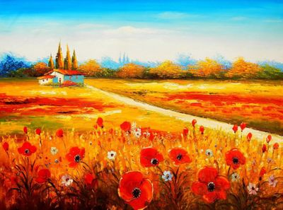 "Poppy Field In Tuscany 36X48 "" Oil Painting"