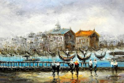 "Modern Art - Venice At Dawn 24X36 "" Oil Painting"