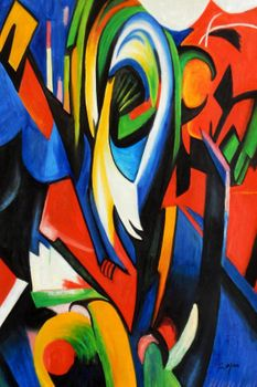 "Franz Marc - The Mandrill 24X36 "" Oil Painting"