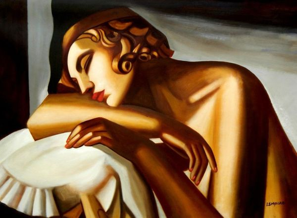 "Homage To Tamara De Lempicka - The Sleeper 32X44 "" Oil Painting"