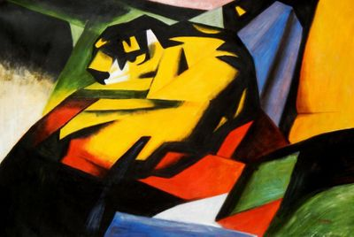 "Franz Marc - The Tiger 48X72 "" Oil Painting"