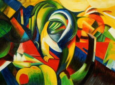 "Franz Marc - The Mandrill 12X16 "" Oil Painting"