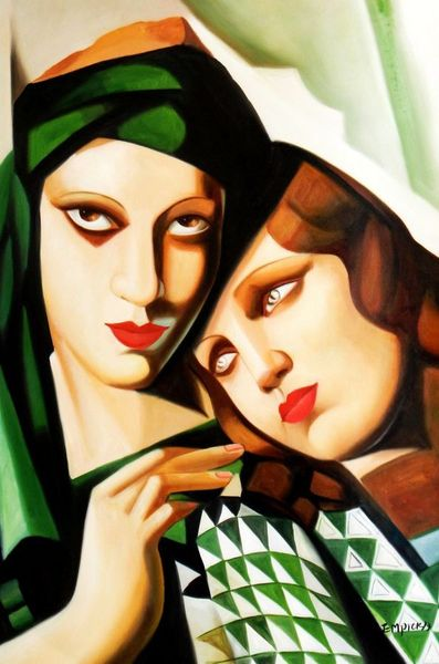 "Homage To Tamara De Lempicka - The Green Turban 24X36 "" Oil Painting"