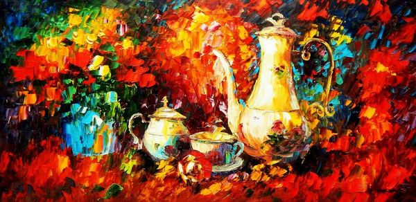Modern Art - Still Life With Coffee 60x120 cm Oil Painting