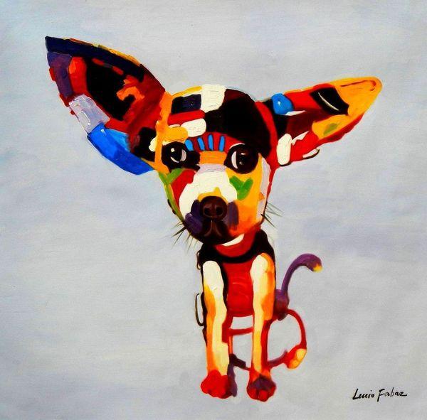 "Modern Art - Chihuahua Dog 32X32 "" Oil Painting"