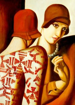 "Homage To Tamara De Lempicka - The Girlfriends 32X44 "" Oil Painting"