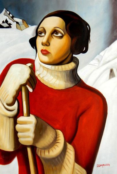 "Homage To T. Lempicka - Sain Moritz 24X36 "" Oil Painting"