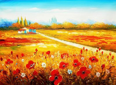 "Poppy Field In Tuscany 32X44 "" Oil Painting"