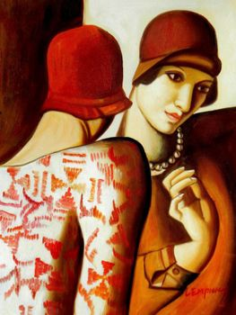 "Homage To Tamara De Lempicka - The Girlfriends 12X16 "" Oil Painting"
