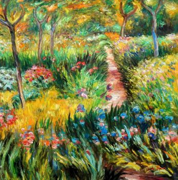 "Claude Monet - Monet'S Garden At Giverny 36X36 "" Oil Painting"
