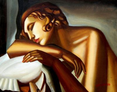 "Homage To Tamara De Lempicka - The Sleeper 16X20 "" Oil Painting"