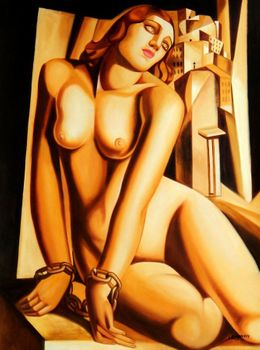 "Homage To Tamara De Lempicka - Andromeda 36X48 "" Oil Painting Art Deco"