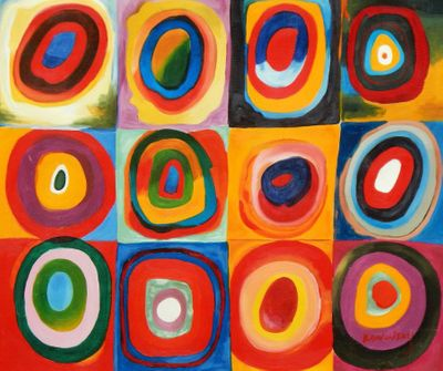 "Wassily Kandinsky - Colour Study: Squares 20X24 "" Oil Painting"