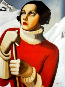 "Homage To T. Lempicka - Sain Moritz 36X48 "" Oil Painting"