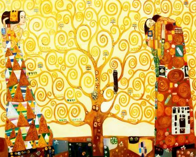 "Gustav Klimt - The Tree Of Life 20X24 "" Oil Painting"