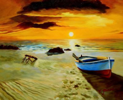 North Sea Sunset & Boat 40x50 cm Oil Painting