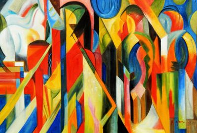 "Franz Marc - Stables 24X36 "" Oil Painting"