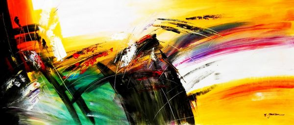 Abstract - Impact Study 30X72 Oil Painting