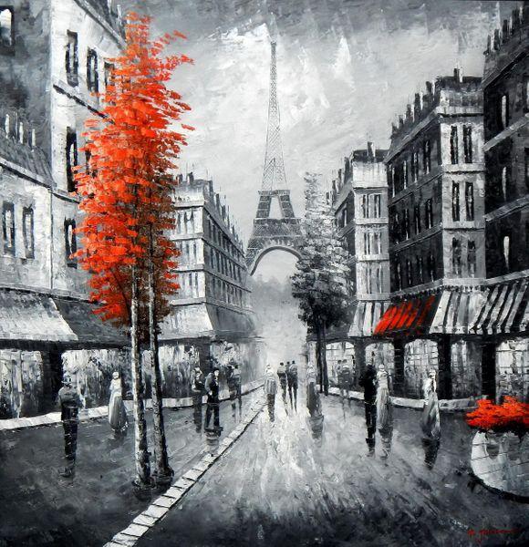 Modern Art - Paris Evening Stroll 120x120 cm Oil Painting