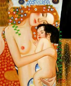 "Gustav Klimt - Mother And Child 20X24 "" Oil Painting"
