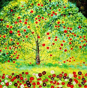 "Gustav Klimt - The Appletree 48X48 "" Oil Painting Museum Quality"