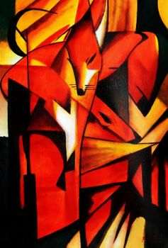 "Franz Marc - Foxes 24X36 "" Oil Painting"