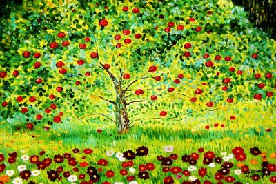 "Gustav Klimt - The Appletree 24X36 "" Oil Painting"