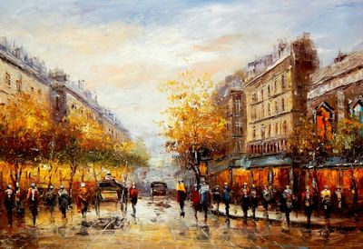 Modern Art - Paris Walk In The Summer 60x90 cm Oil Painting