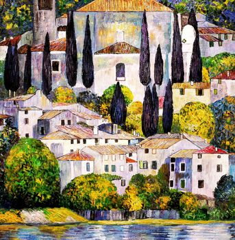 "Gustav Klimt - Malcesine On Lake Garda 32X32 "" Oil Painting Museum Quality"