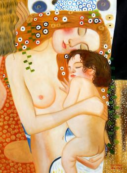 "Gustav Klimt - Mother And Child 36X48 "" Oil Painting"