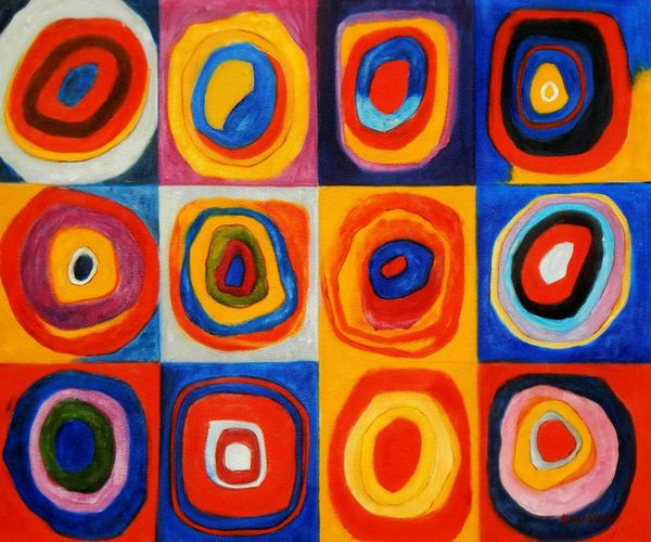 Wassily Kandinsky - Colour Study: Squares 50x60 cm Reproduction Oil Painting